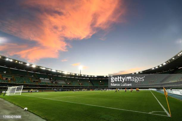 General view of the stadium ahead of the Serie A match between Hellas Verona and FC Internazionale at Stadio Marcantonio Bentegodi on July 9, 2020 in...