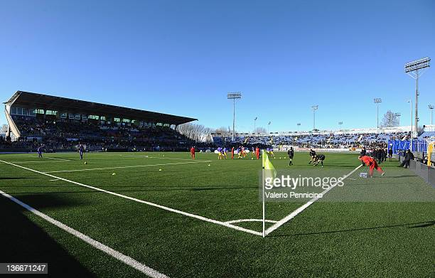 General view of the stadium ahead of the Serie A match between Novara Calcio and ACF Fiorentina at Silvio Piola Stadium on January 8, 2012 in Novara,...
