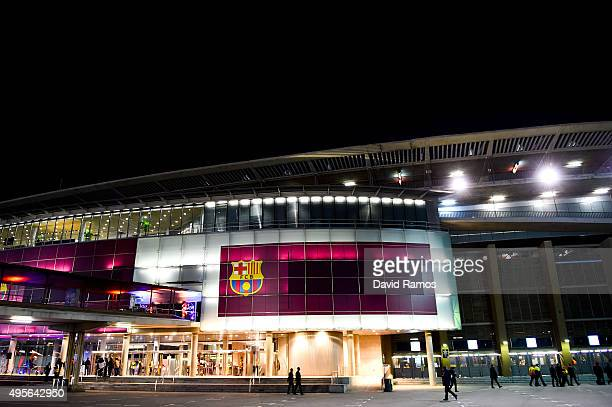 A general view of the stadium ahead of the UEFA Champions League Group E match between FC Barcelona and FC BATE Borisov at the Camp Nou on November 4...