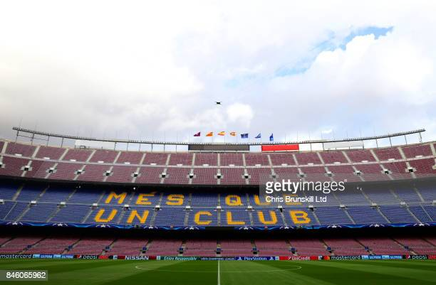 A general view of the stadium ahead of the UEFA Champions League Group D match between FC Barcelona and Juventus at Camp Nou on September 12 2017 in...