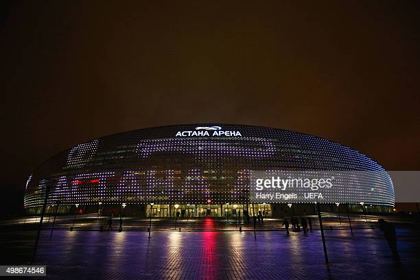 A general view of the stadium ahead of the UEFA Champions League match between FC Astana and SL Benfica at the Astana Arena on November 25 2015 in...