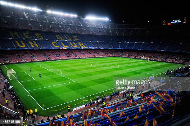 A general view of the stadium ahead of the UEFA Champions League round of 16 second leg match between FC Barcelona and Manchester City at the Camp...