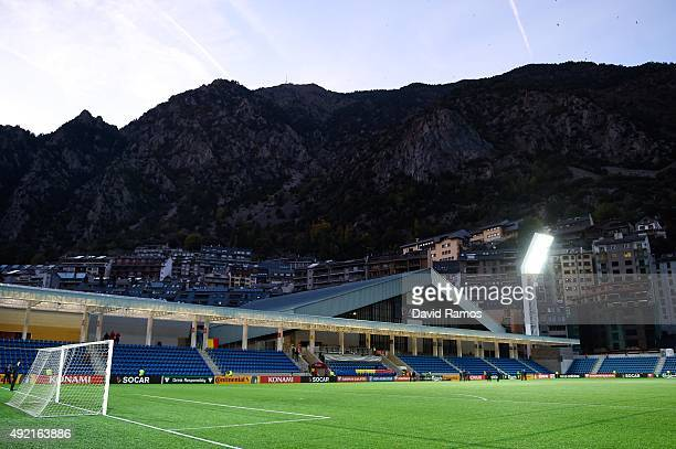 A general view of the stadium ahead of the UEFA EURO 2016 Qualifier match between Andorra and Belgium at Estadi Nacional d'Andorra la Vella on...