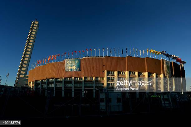 General view of the stadium ahead of the UEFA EURO 2016 Qualifying match between Finland and Northern Ireland at the Olympic Stadium on October 11,...