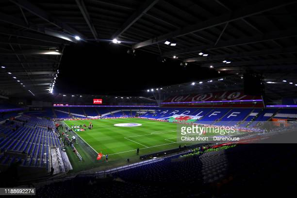 A general view of the stadium ahead of the UEFA Euro 2020 qualifier between Wales and Hungary so at Cardiff City Stadium on November 19 2019 in...