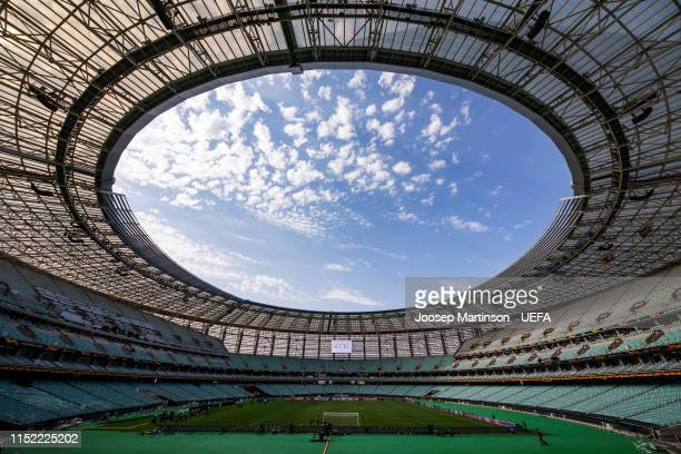 A general view of the stadium ahead of the UEFA Europa League Final between Chelsea and Arsenal at Baku Olimpiya Stadionu on May 28 2019 in Baku...