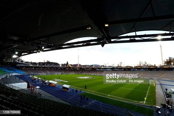 General view of the stadium ahead of the UEFA Europa League round of 16 first leg match at Linzer Stadion, Linz.