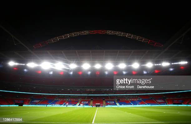 General view of the stadium ahead of the UEFA Nations League group stage match between England and Iceland at Wembley Stadium on November 18, 2020 in...