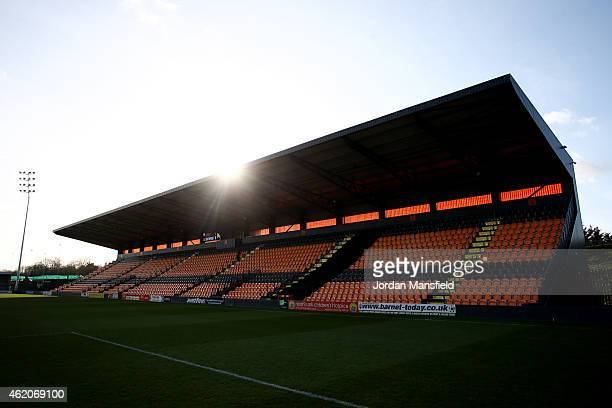 A general view of the stadium ahead of the Vanarama Football Conference League match between Barnet and Southport at The Hive on January 24 2015 in...