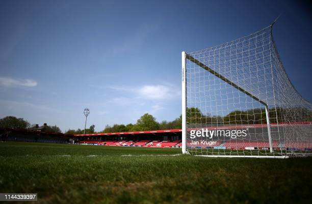 General view of the stadium ahead of the Vanarama National League match between Salford City and AFC Fylde at Moor Lane on April 22, 2019 in Salford,...