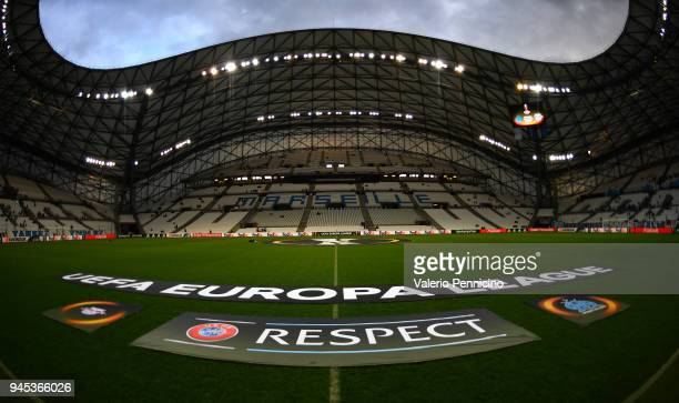 A general view of the Stadium ahead the UEFA Europa League quarter final leg two match between Olympique Marseille and RB Leipzig at Stade Velodrome...