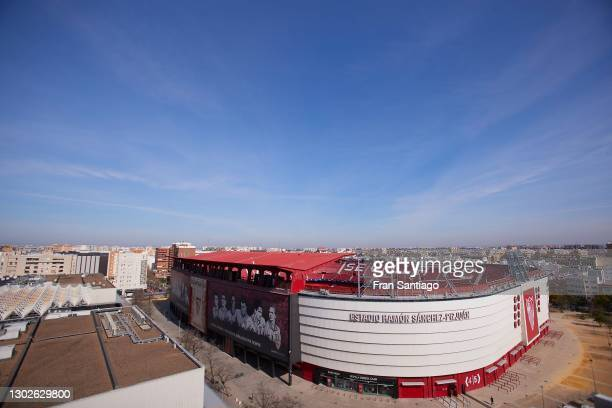 General view of the stadium ahead to the UEFA Champions League Round of 16 match between Sevilla FC and Borussia Dortmund at Estadio Ramon Sanchez...