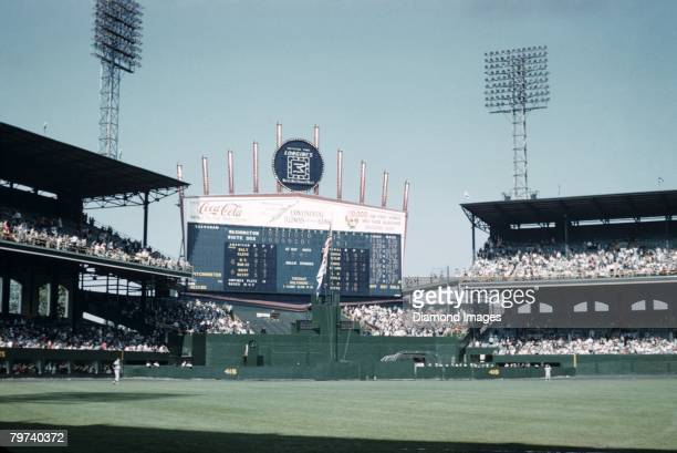 A general view of the stadium and centerfield scoreboard during the eigth inning of the first game of a doubleheader on May 22 1960 between the...