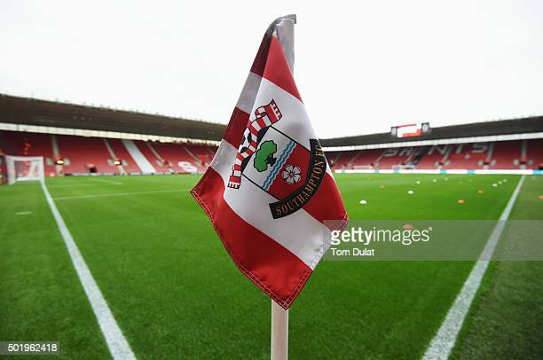 A general view of the stadium and corner flag prior to the Barclays Premier League match between Southampton and Tottenham Hotspur at St Mary's...