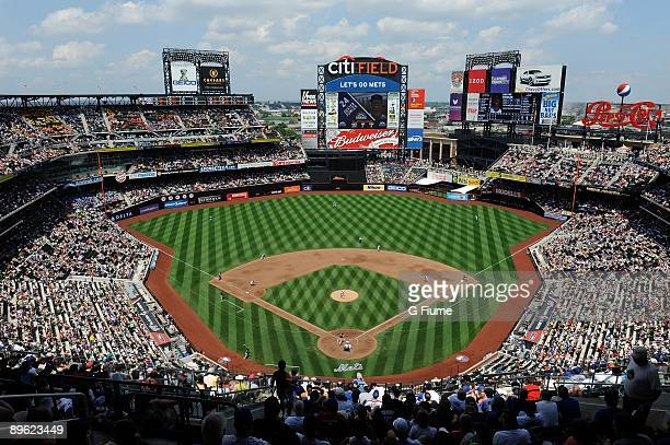 General view of the stadium and field during play between the New York Mets and the Colorado Rockies at Citi Field on July 30, 2009 in New York, New...