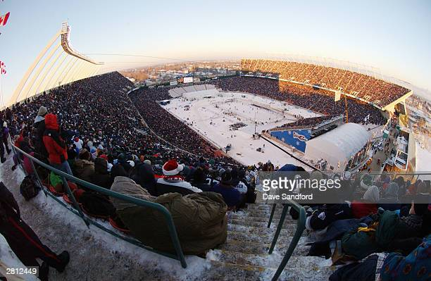 A general view of the stadium and ice rink as Edmonton Oilers take on the Montreal Canadiens for the Molson Canadien Heritage Classic on November 22...