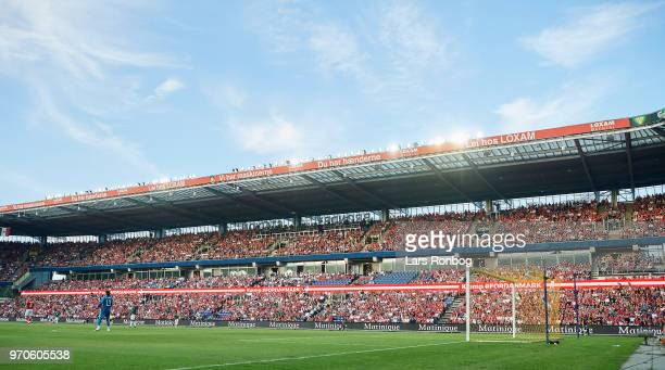 General view of the stadium and the fans during the international friendly match between Denmark and Mexico at Brondby Stadion on June 9, 2018 in...