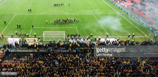 General view of the stadium and the players of Brondbvy IF celebrating with the fans after the Danish Alka Superliga match between FC Copenhagen and...