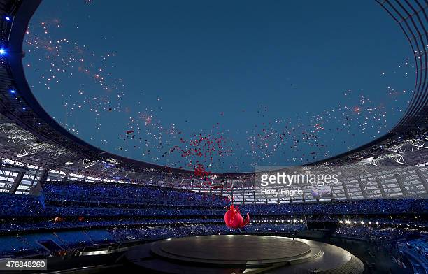 General view of the stadium as a giant Pomegranate representing abundance, rebirth, love and good luck splits open to release its seeds during the...