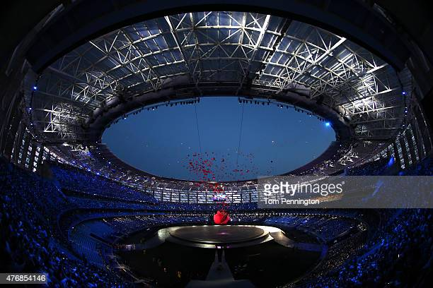 A general view of the stadium as a giant Pomegranate representing abundance rebirth love and good luck splits open to release its seeds during the...