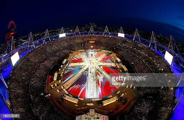 A general view of the stadium as a Union Jack is formed during the Closing Ceremony on Day 16 of the London 2012 Olympic Games at Olympic Stadium on...