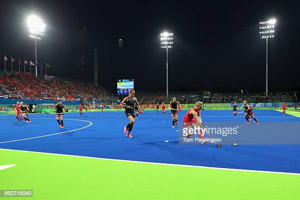 General view of the stadium as Alex Danson controls the ball against Netherlands during the Women's Gold Medal Match against the Netherlands on Day...