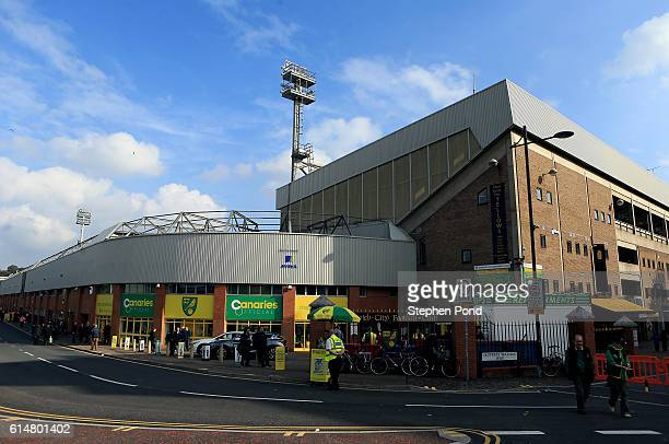 A general view of the stadium as fans arrive ahead of the Sky Bet Championship match between Norwich City and Rotherham United at Carrow Road on...