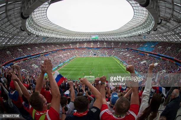 General view of the stadium as fans celebrate the opening goal scored by Iury Gazinsky of Russia during the 2018 FIFA World Cup Russia Group A match...