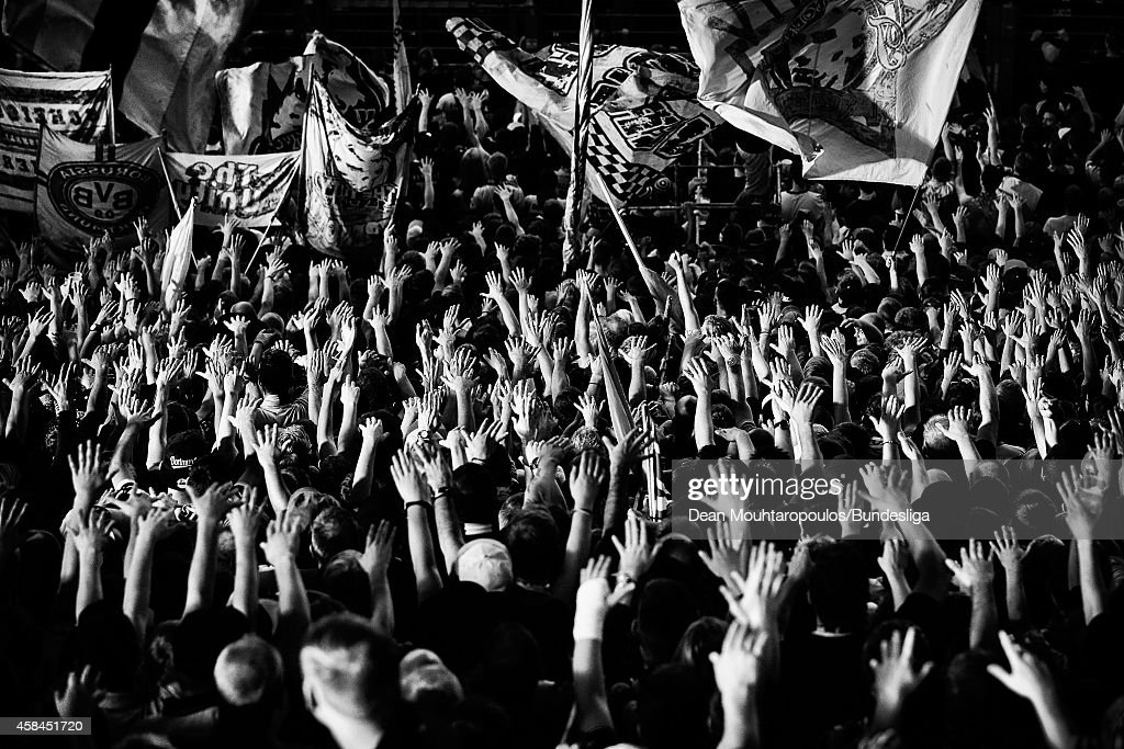 A general view of the stadium as fans watch the action and gesture to goalkeeper, Jaroslav Drobny of Hamburg during the Bundesliga match between Borussia Dortmund and Hamburger SV at Signal Iduna Park on October 4, 2014 in Dortmund, Germany.