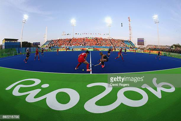 General view of the stadium as Great Britain play Netherlands during the Women's Gold Medal Match against the Netherlands on Day 14 of the Rio 2016...