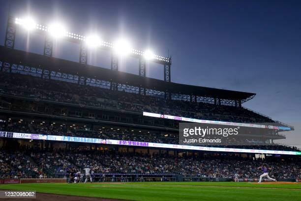 General view of the stadium as Jon Gray of the Colorado Rockies delivers to home plate against Corey Seager of the Los Angeles Dodgers during the...