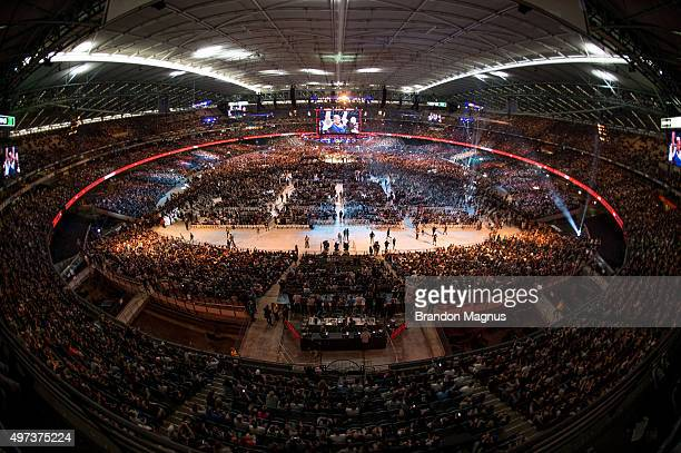 A general view of the stadium as Mark Hunt celebrates his victory over Antonio 'Bigfoot' Silva during the UFC 193 event at Etihad Stadium on November...