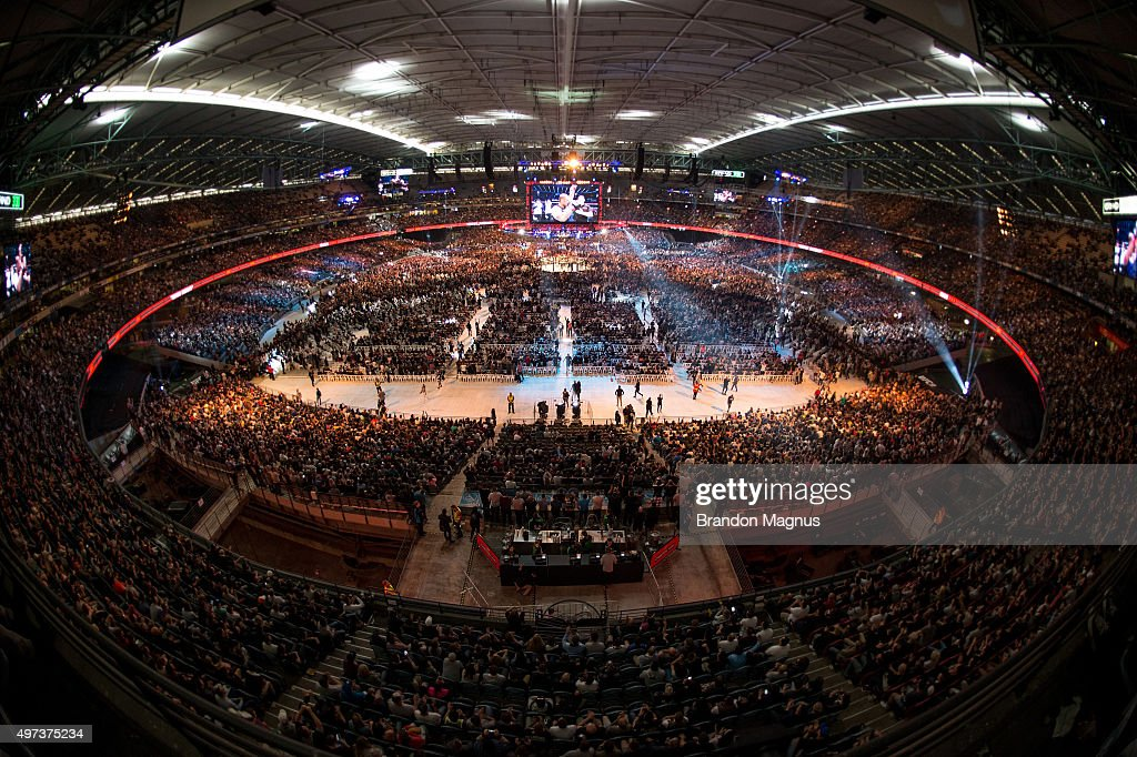 A general view of the stadium as Mark Hunt celebrates his victory over Antonio 'Bigfoot' Silva during the UFC 193 event at Etihad Stadium on November 15, 2015 in Melbourne, Australia.