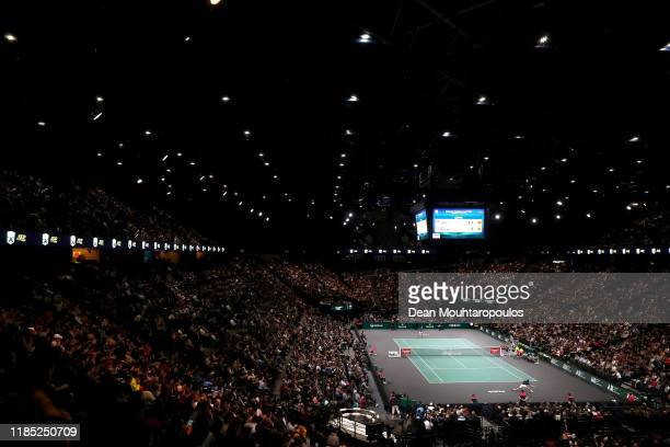 General view of the stadium as Novak Djokovic of Serbia returns a forehand in his Men's Singles Final match against Denis Shapovalov of Canada on day...
