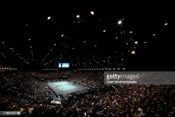 General view of the stadium as Novak Djokovic of Serbia returns a backhand in his Men's Singles Final match against Denis Shapovalov of Canada on day...