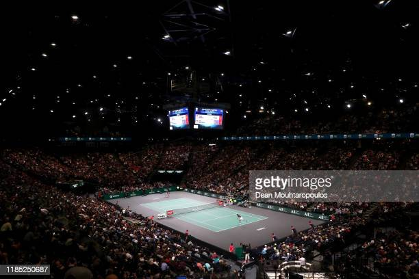 General view of the stadium as Novak Djokovic of Serbia serves in his Men's Singles Final match against Denis Shapovalov of Canada on day 7 of the...