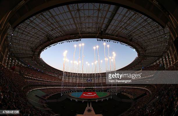 A general view of the stadium as performers depict the national flag of Azerbaijan during the Opening Ceremony for the Baku 2015 European Games at...
