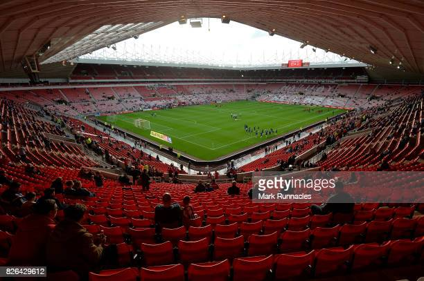 A general view of the stadium as players warm up ahead of the Sky Bet Championship match between Sunderland and Derby County at Stadium of Light on...