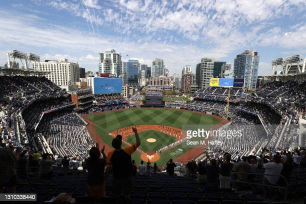 General view of the stadium as teams were announced prior to a game between the Arizona Diamondbacks and the San Diego Padres on Opening Day at PETCO...