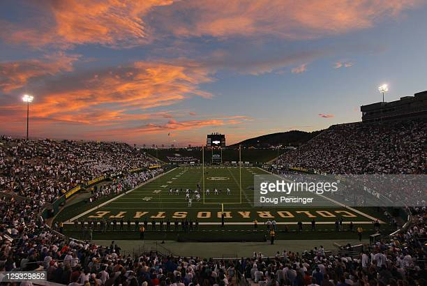 A general view of the stadium as the Boise State Broncos face the Colorado State Rams at Sonny Lubick Field at Hughes Stadium on October 15 2011 in...