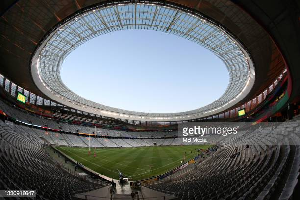 General view of the stadium as the British & Irish Lions run our before the 1st test at Cape Town Stadium on July 24, 2021 in Cape Town, South Africa.