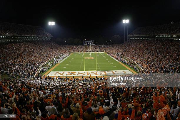A general view of the stadium as the Clemson Tigers take on the Florida State Seminoles on November 8 2003 at Memorial Stadium in Clemson South...