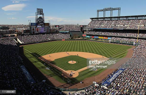 A general view of the stadium as the Colorado Rockies host the Arizona Diamondbacks during Opening Day at Coors Field on April 1 2011 in Denver...