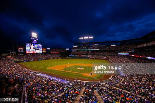 A general view of the stadium as the Colorado Rockies take on the Houston Astros during interleague play at Coors Field on July 25 2018 in Denver...