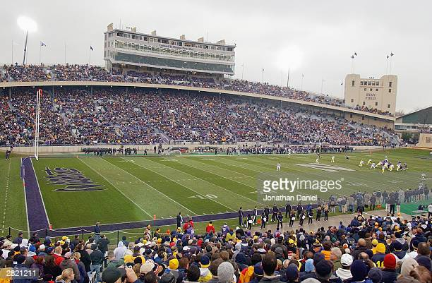 General view of the stadium as the crowd of 40,681 watches the game between Michigan and Northwestern on November 15, 2003 at Ryan Field at...