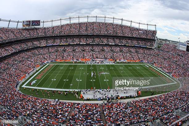 General view of the stadium as the Denver Broncos defeated the Oakland Raiders 23-20 in overtime during week two NFL action at Invesco Field at Mile...