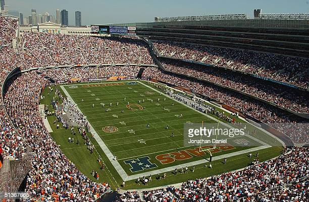 General view of the stadium as the Detroit Lions kickoff to the Chicago Bears to start the game on September 12, 2004 at Soldier Field in Chicago,...