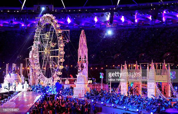 A general view of the stadium as the London cityscape is depicted during the Closing Ceremony on Day 16 of the London 2012 Olympic Games at Olympic...