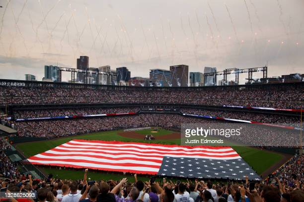 General view of the stadium as the National Anthem is played prior to the 91st MLB All-Star Game at Coors Field on July 13, 2021 in Denver, Colorado.