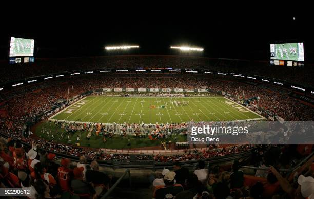 General view of the stadium as the Oklahoma Sooners take on the Miami Hurricanes at Land Shark Stadium on October 3, 2009 in Miami Gardens, Florida....